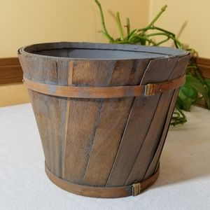 Wood Bucket Planter, NWOT